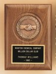 American Walnut Plaque with Handshake Casting Employee Awards