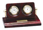 Piano Finish Rosewood Desk Clock with Instruments Secretary Gift Awards